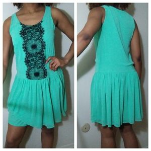 Bar III Mint green dress with Black lace